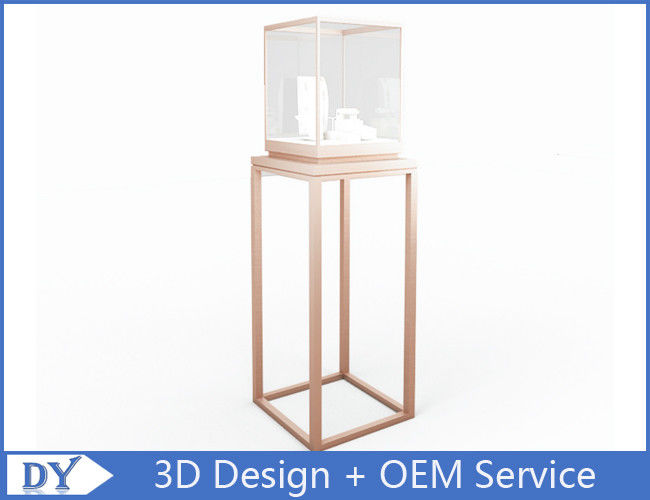 OEM manufacturing high end stainless steel museum pedestal display case with led spot lights προμηθευτής