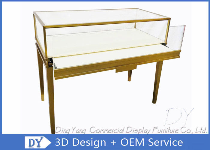 Gold Color Modern Glass Jewellery Counter Display With Lockable LED Lights